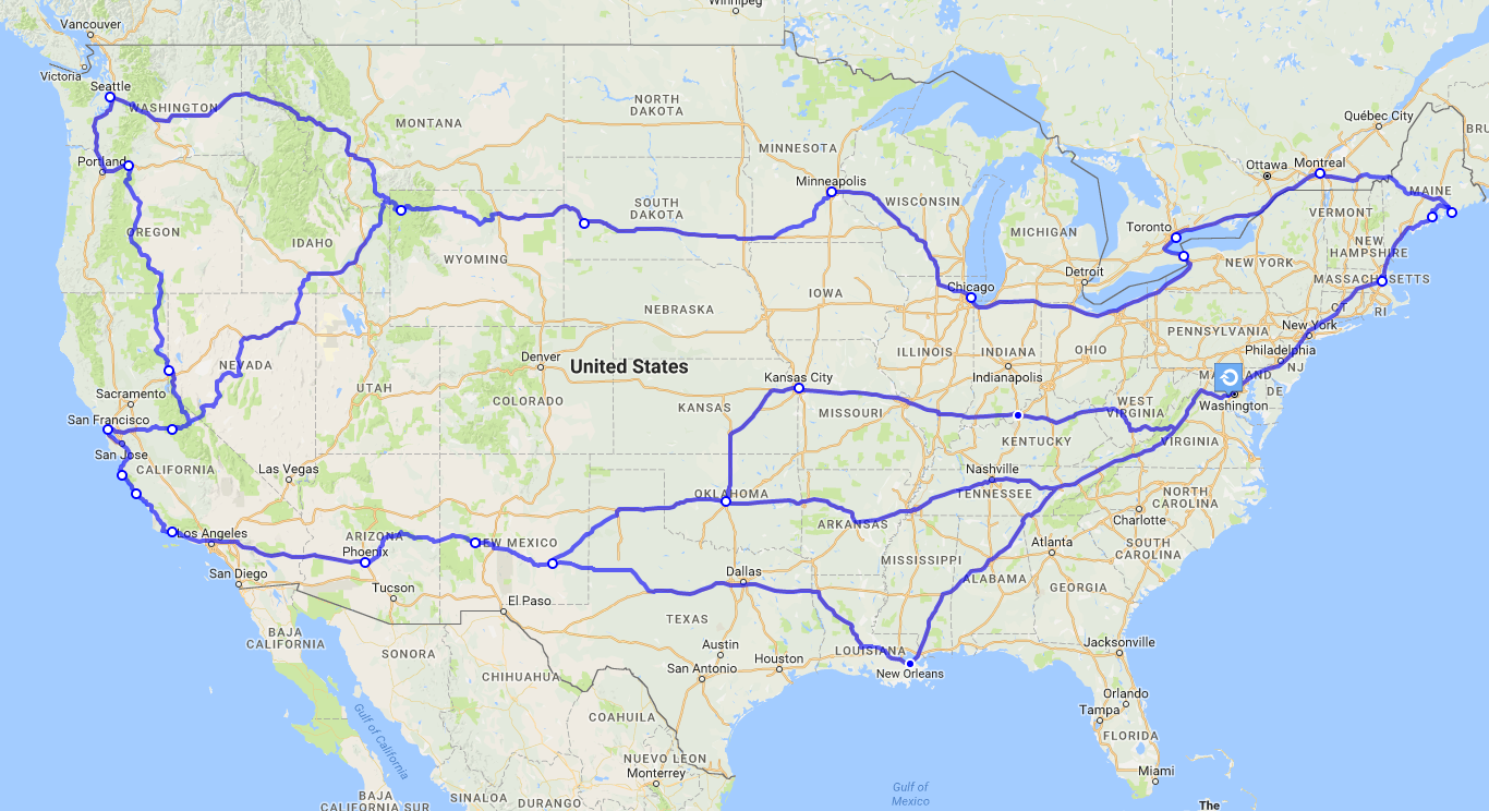 The approximate route I plan on taking.